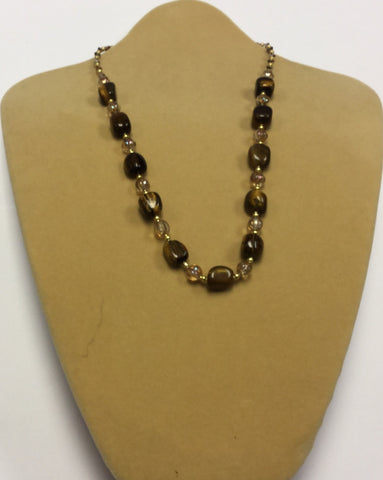 Tigers Eye Glass Necklace
