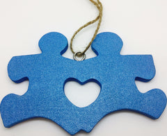 Wood Friend Puzzle Vary Blue Glitter Hanging
