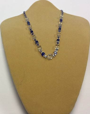 Blue Clear Glass Cube Necklace