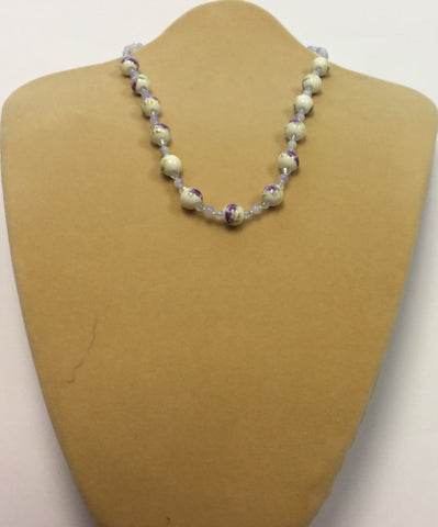 Lilac Ceramic Crystal Flower Necklace