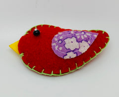 Fabric & Felt Hanging Red Bird Decoration