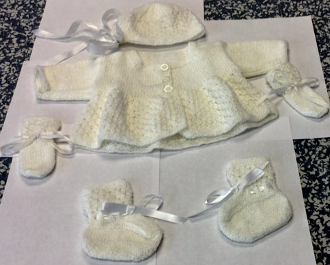 Baby Matinee Jacket With Bonnet Booties Mittens Set
