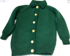 "Girl's All Wool Cardigan Chest Size 60cm (24"") Green with Gold Buttons"