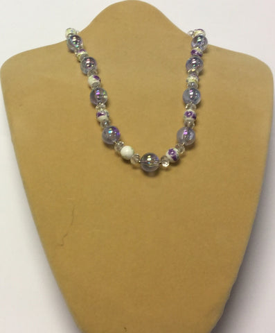 Lilac Ceramic Crystal Acrylic Flower Necklace