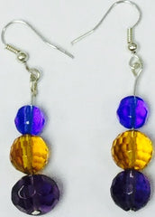 Earrings Bead Trio Colour Blue Amber Purple
