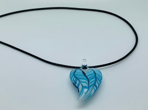 Turquoise Glass Heart Pendant