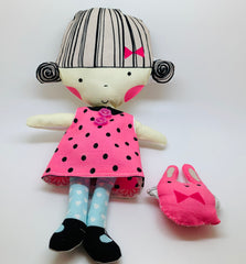 Fabric Sweet Polly Dolly with Cat