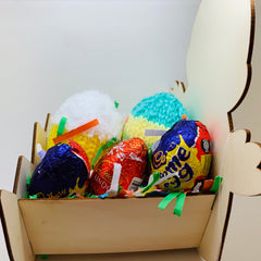 Colour your own Easter Chick Wooden Basket (with Foam & Chocolate Eggs)