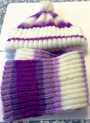 Child's Hat and Scarf Purple White