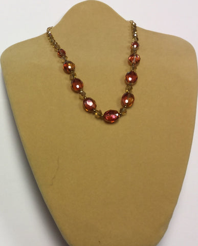 Orange Topaz Opal Crystal Necklace