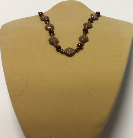 Brown Glass Diamond Earrings  Necklace