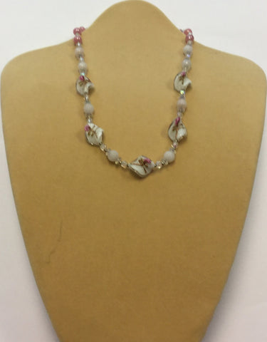 White Glass Pink Ruby Necklace