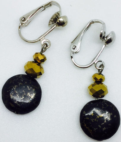Black Gold Pyrite Clip On Earrings