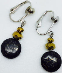 Earrings Clip On Pyrite