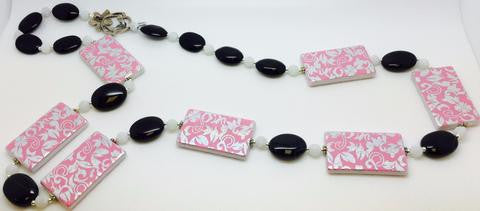 Pink Acrylic Jet Frosted Agate Necklace