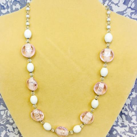 Pink White Glass Necklace