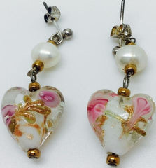 White Cameo Heart Pearl Silver Plate Earrings