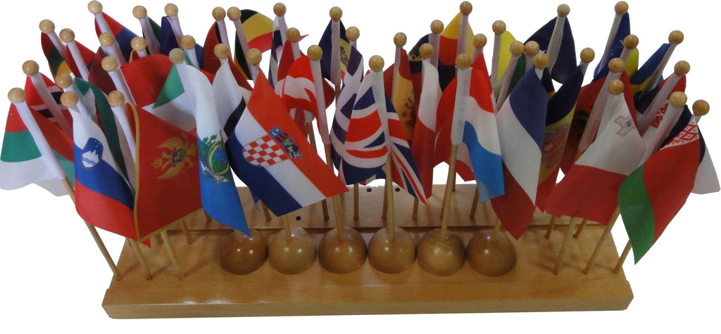 Flag stand of Europe with 45 flags 129566869