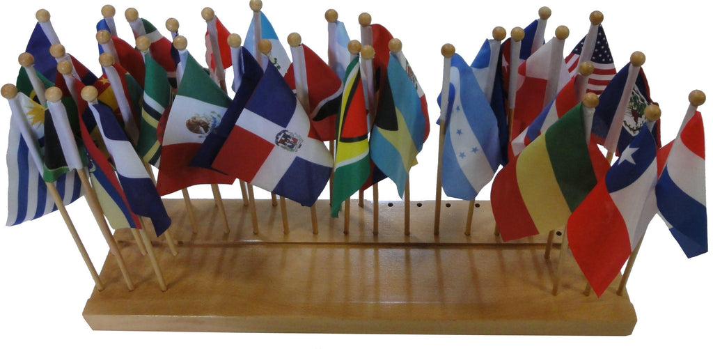 Flag stand of N. and S. America with 35 flags 129566871