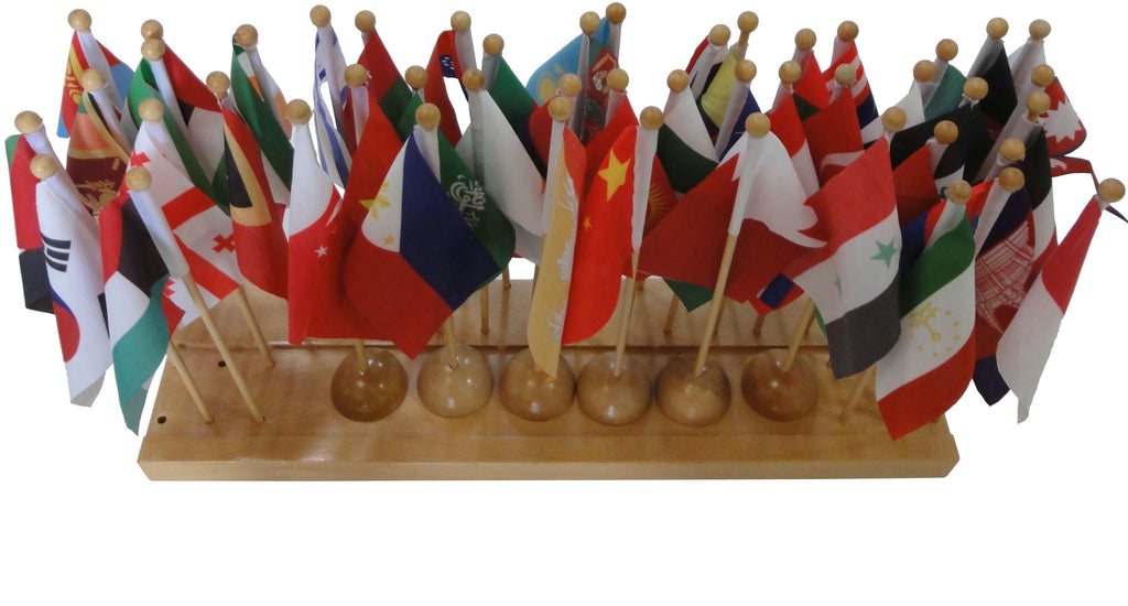 Flag stand of Asia with 47 flags 129566865