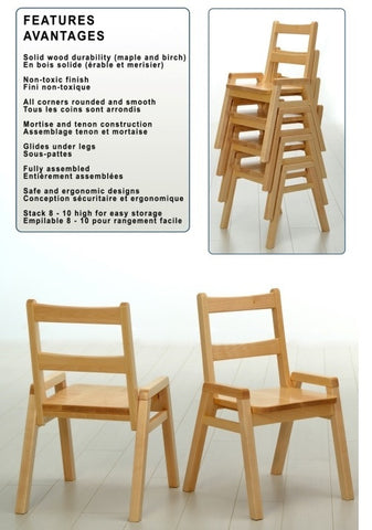 "Stackable Chair Solid Maple 10"" to 14"" seat height 373433952"