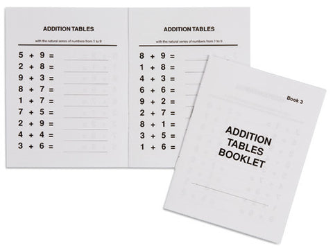 Addition Tables Booklet: 3 572056772