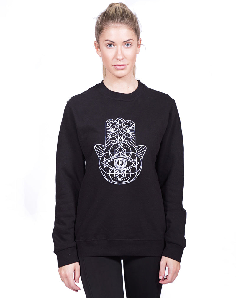 Black Geo Embroidered Sweater