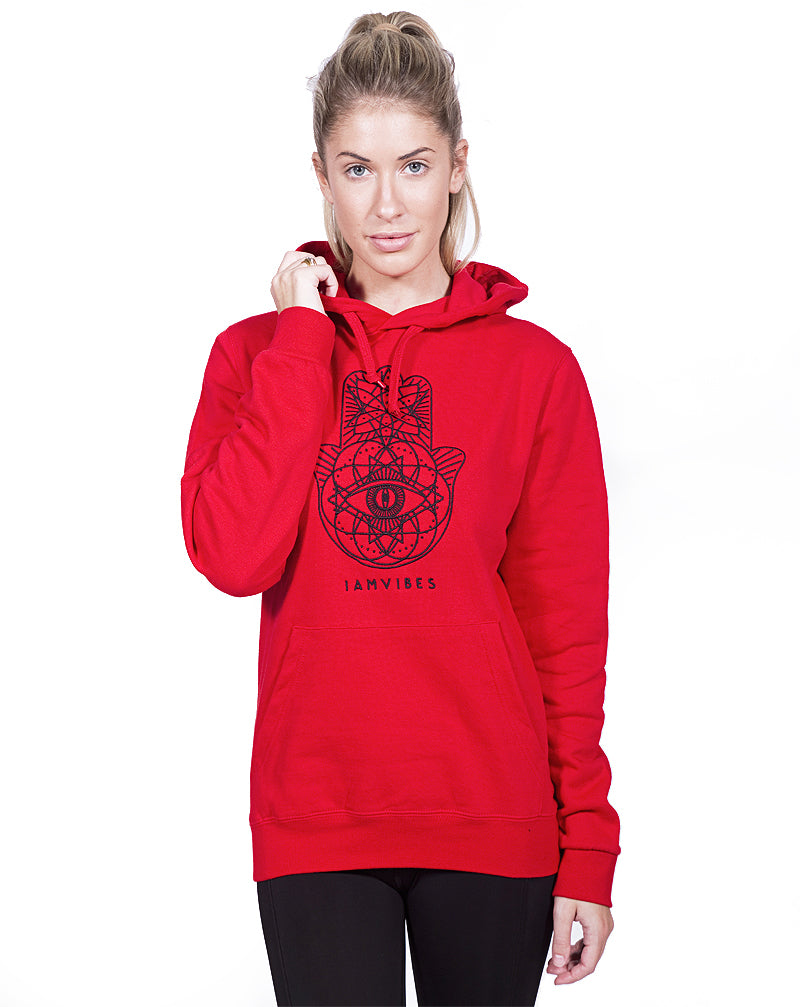 Red Geo Embroidered Hoodie
