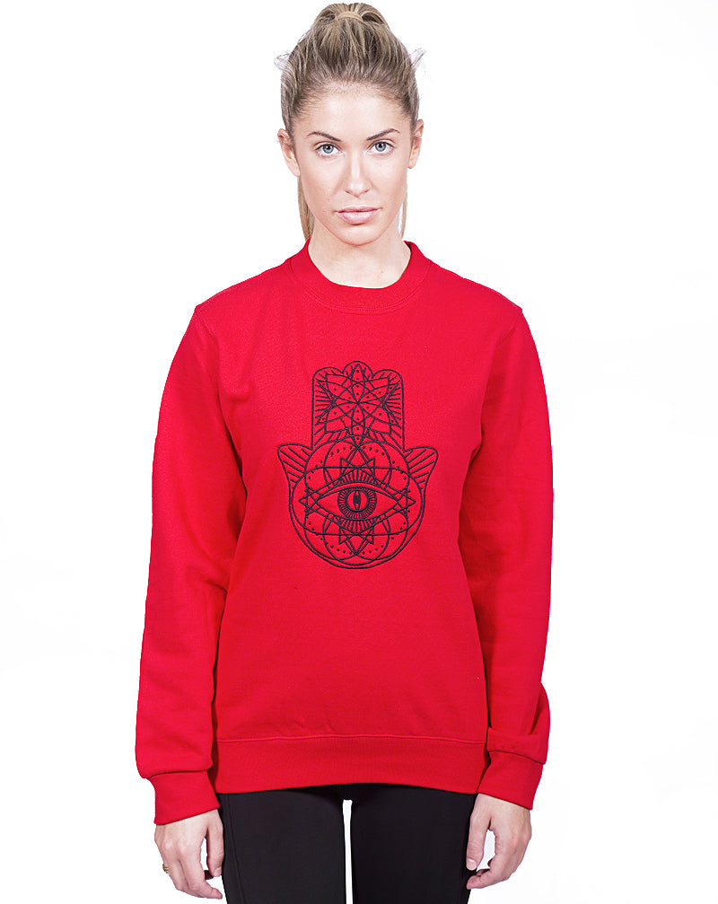 Red Geo Embroidered Sweater