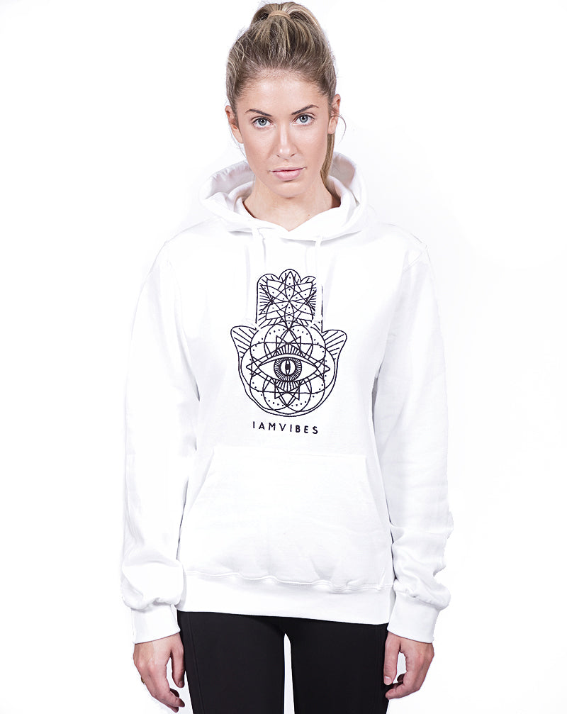 White Geo Embroidered Hoodie