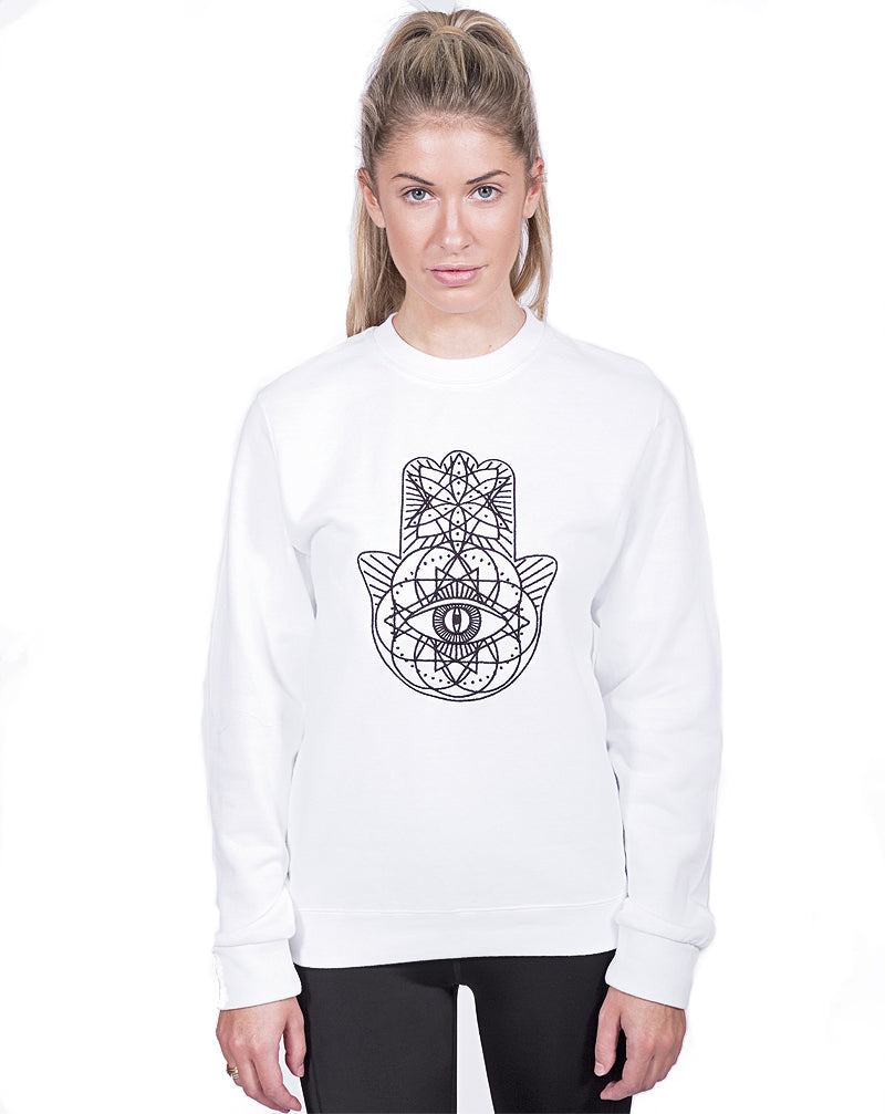 White Geo Embroidered Sweater