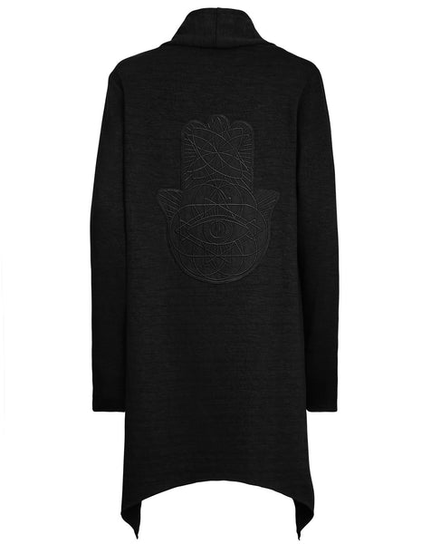 Womens Black on Black Hamsa Asymmetric Cardigan
