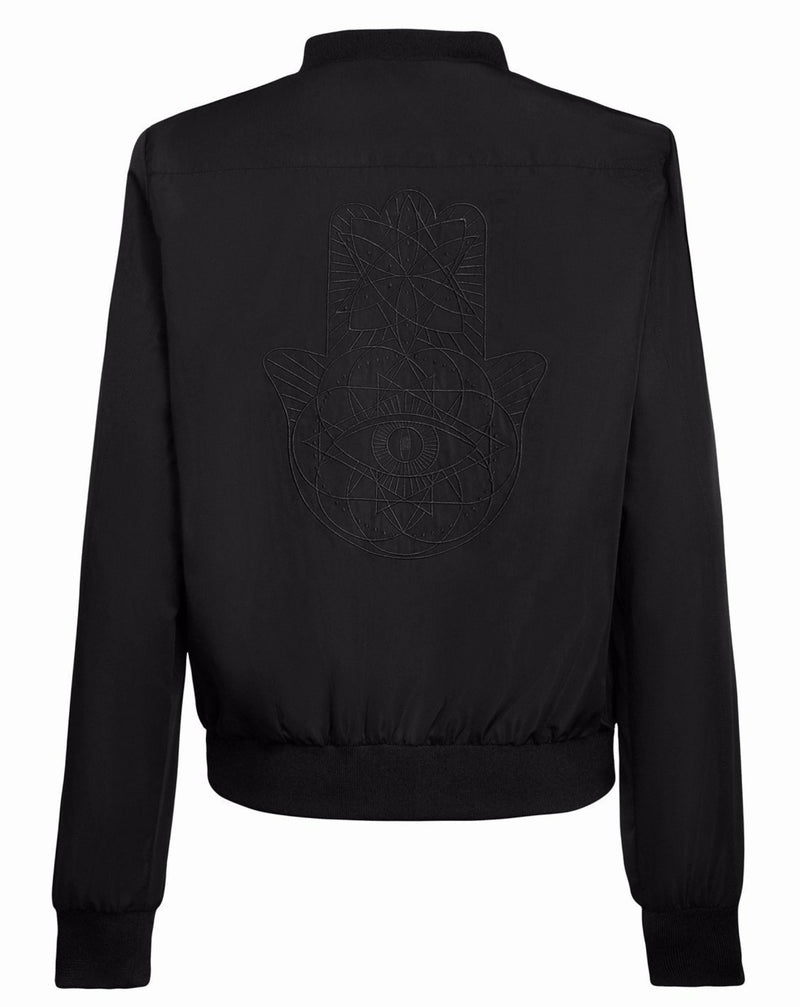 Womens Black on Black Geo Track Jacket
