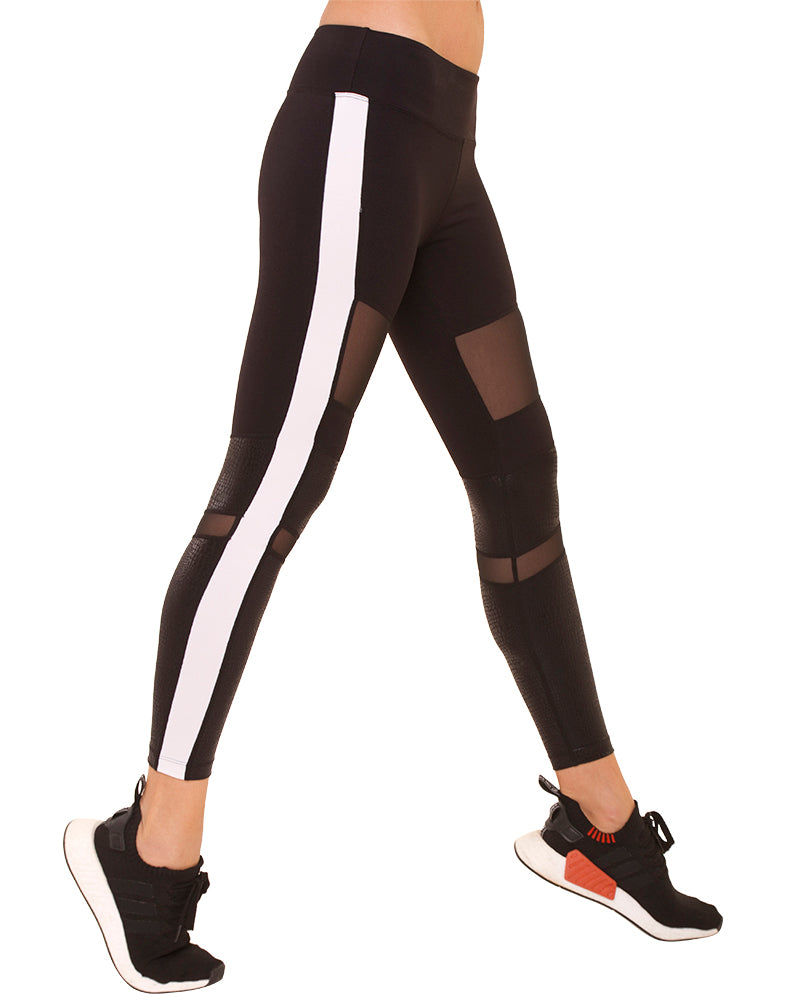 Black Nylon White Stripe Leggings