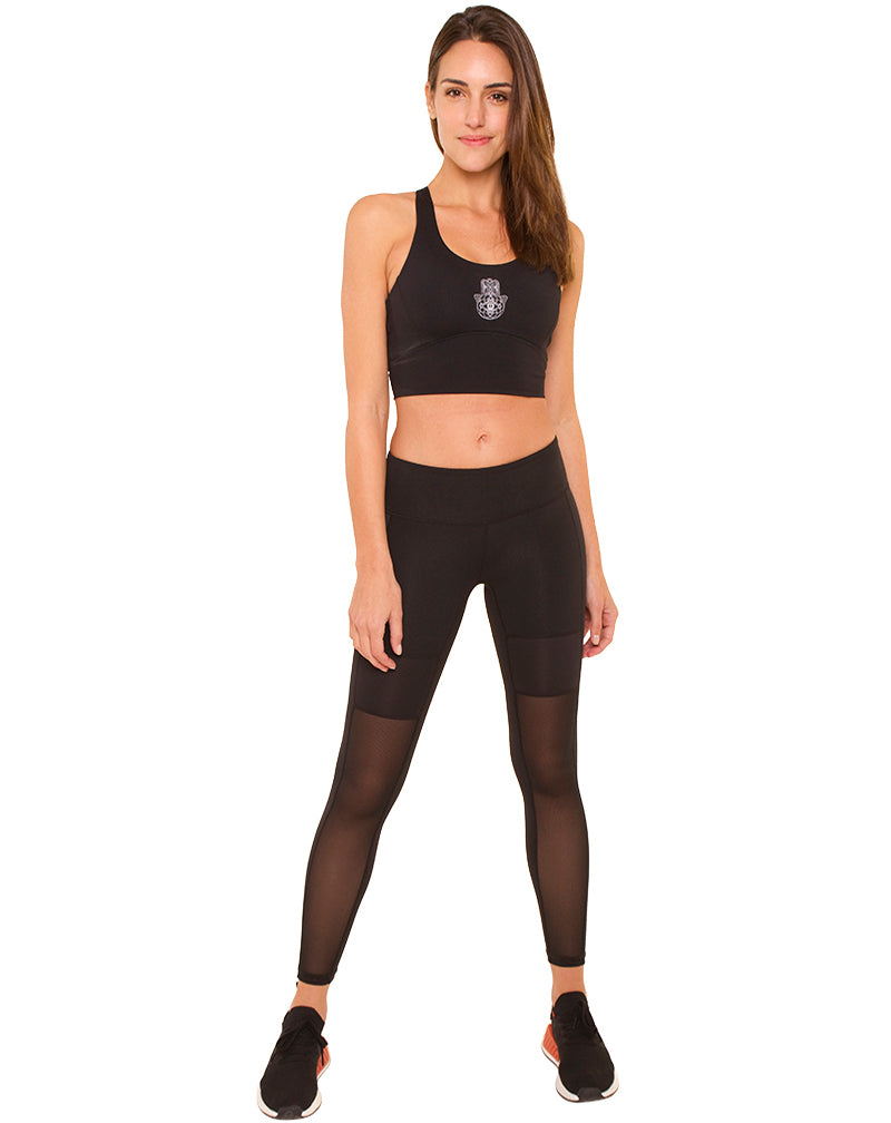 Black Nylon Patch Leggings