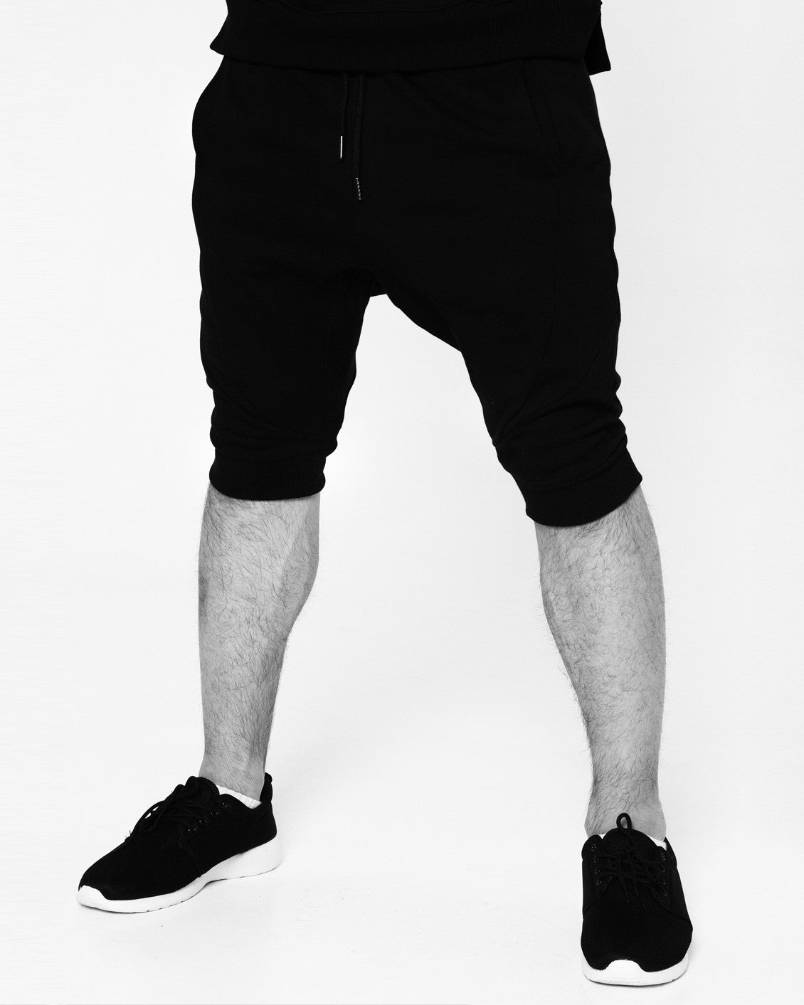 Mens Black on Black Embroidered Drop crotch Shorts