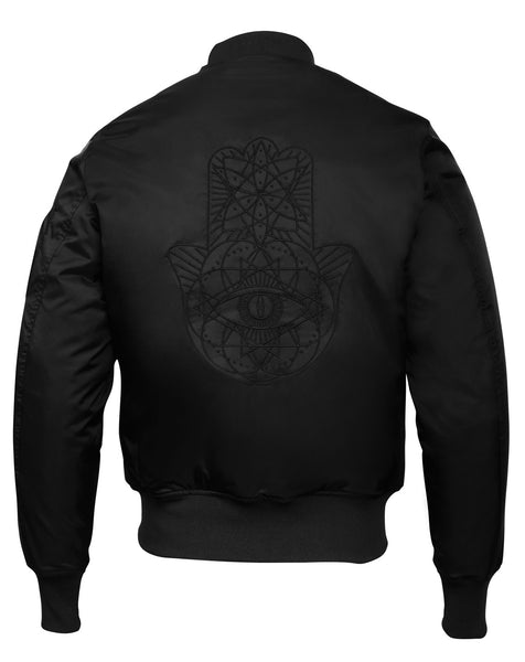 Mens Black on Black Geo Bomber
