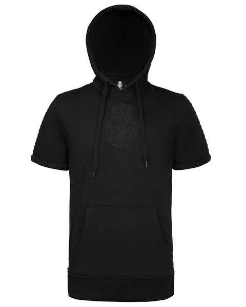 Mens Black on Black Embroidered Short sleeve side Zip Hoodie