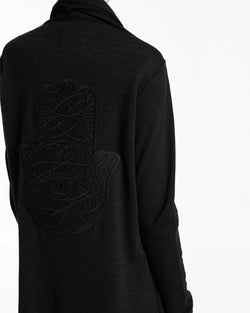 Womens Black on Black Hamsa Asymmetric Cardigan - IAM VIBES