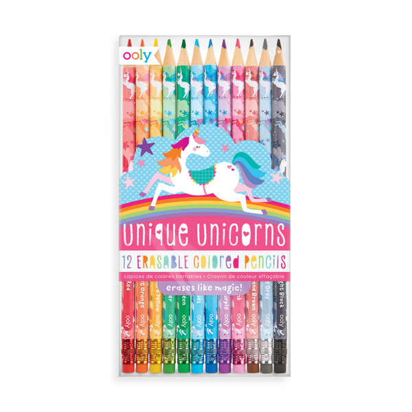 Ooly Unique Unicorns Erasable Colored Pencils - Set of 12