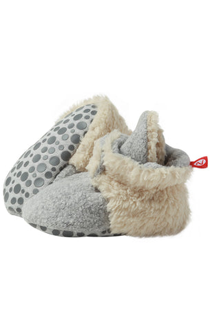 Zutano Cozie Baby Booties Furry Heather Gray with Grippers