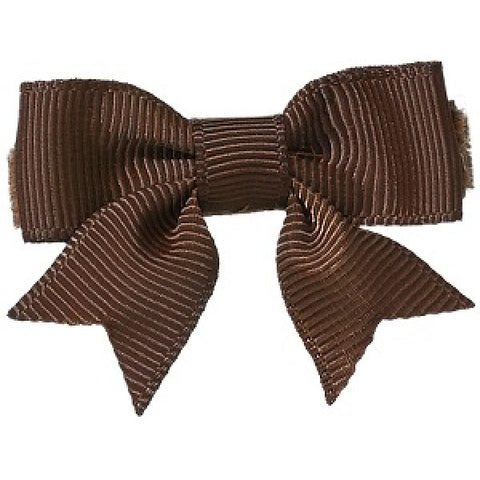 No Slippy Hair Clippy Emily Grosgrain Baby Bow Brown