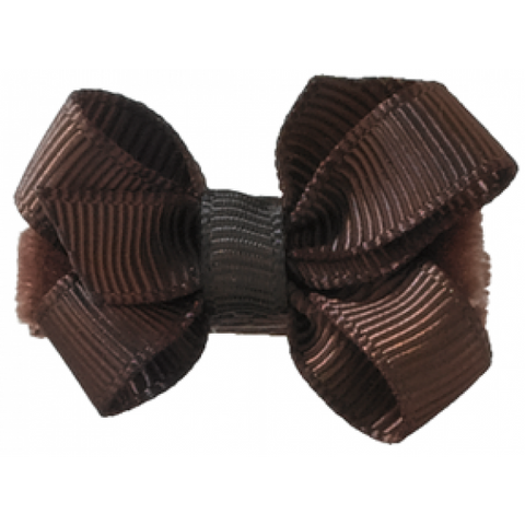 No Slippy Hair Clippy Haley Mini Grosgrain Bow Brown