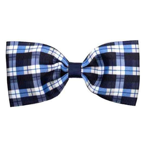 No Slippy Hair Clippy Elaine Navy Plaid Bowtie Bow