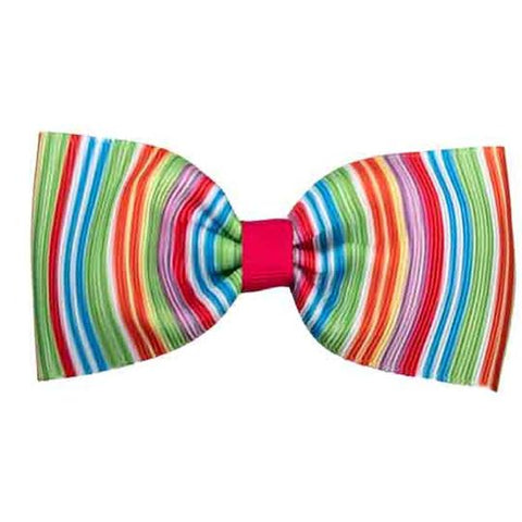 No Slippy Hair Clippy Elaine Shocking Pink Striped Bowtie Bow