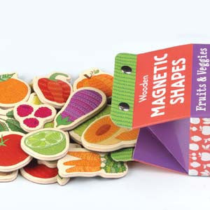 Mudpuppy Wooden Magnetic Shapes Fruits & Veggies
