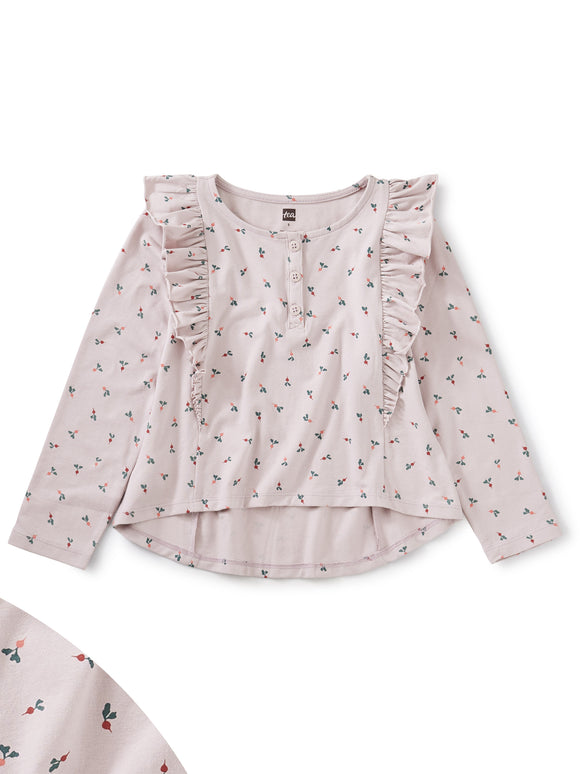 Tea Collection Ruffle Henley Top Radish