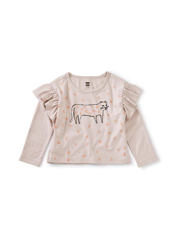 Tea Collection Jaguar Ruffle Graphic Tee