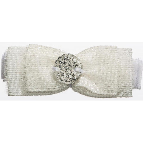 No Slippy Hair Clippy Bonnie Glitter Bow White