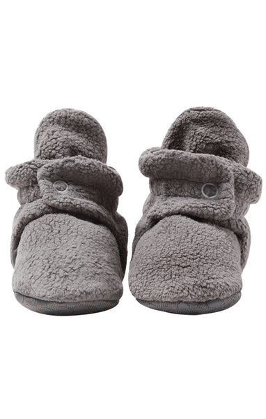 Zutano Cozie Baby Booties Gray with Grippers